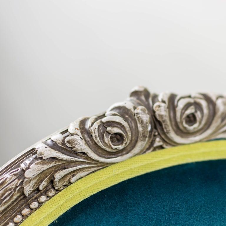 Pair of Louis XVI Style Armchairs Blue Pine Velvet For Sale 2
