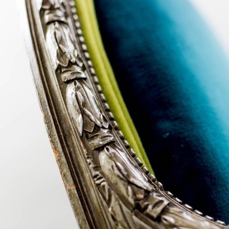 Pair of Louis XVI Style Armchairs Blue Pine Velvet For Sale 1