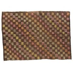 Hand-Stitched Embroidery Kilim Rug