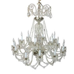Elegant Large Two-Tier Eighteen-Arm Crystal Chandelier Draping Crystal Beading