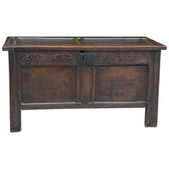 Antique English Carved Oak Two-Panel Blanket Chest