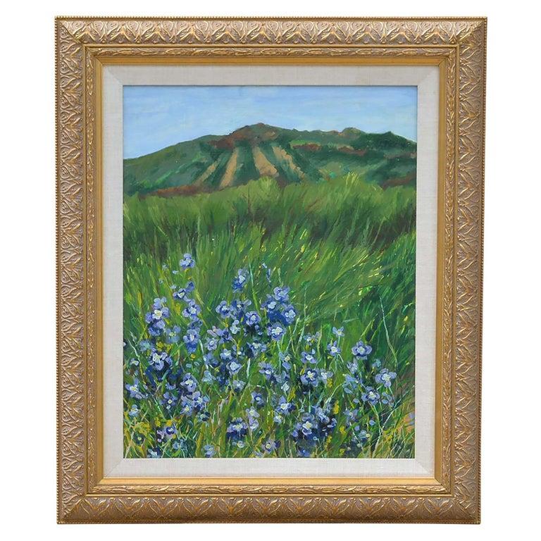 Blue Flowers Landscape Painting Signed
