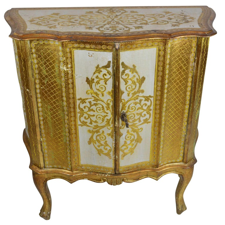 Antique Venetian Gold Dry Bar Cabinet For