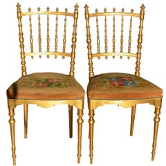 Antique Napoleon III Period Dining Chairs Shield Tapestry