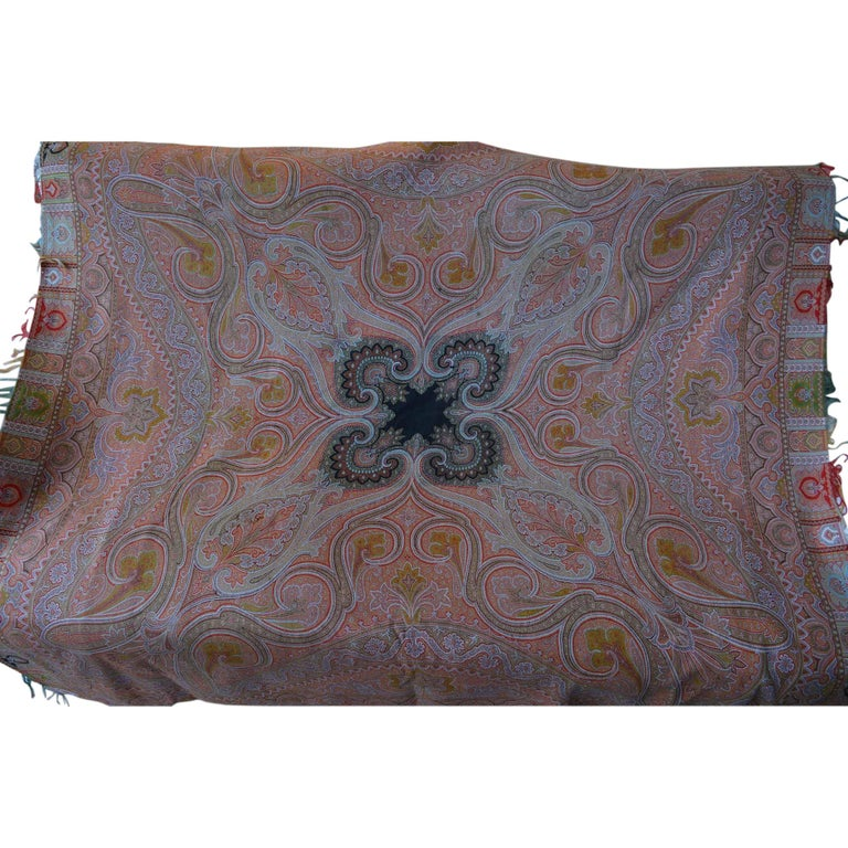Large Woven Cashmere Paisley Throw Textile Shawl For Sale