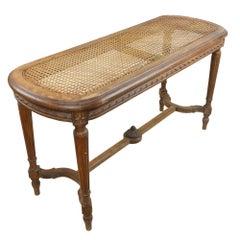 Antique Louis XV Style Cane Seat Window Bench