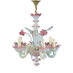 Antique Venetian Six-Light Opalescent Frond and Daffodil Chandelier