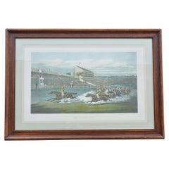 Colored Engraving Horse Race Scene Framed