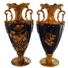 Pair of 19th Century French Cobalt Blue Hand-Painted Gold Accent Porcelain Vases