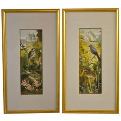 Pair of Watercolor Paintings of Birds by Purcell, Signed
