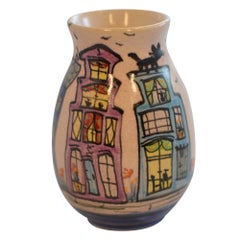 Dutch Canal Front Home Hand Painted Bud Vase Cats on Roofs