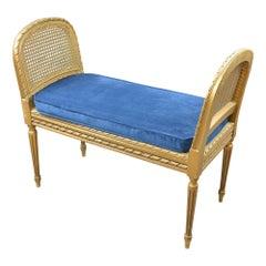 Antique Giltwood Caned Seat Raised Sides Bench Blue Velvet Cushion