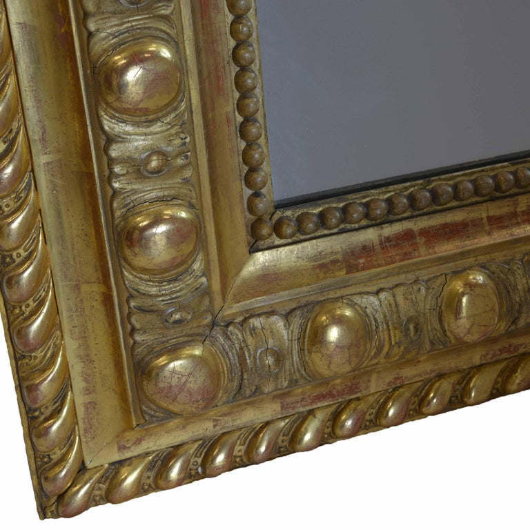 Large French 19th Century Ornate Giltwood Carved Mirror Louis XV Style Mirror In Excellent Condition For Sale In Pataskala, OH