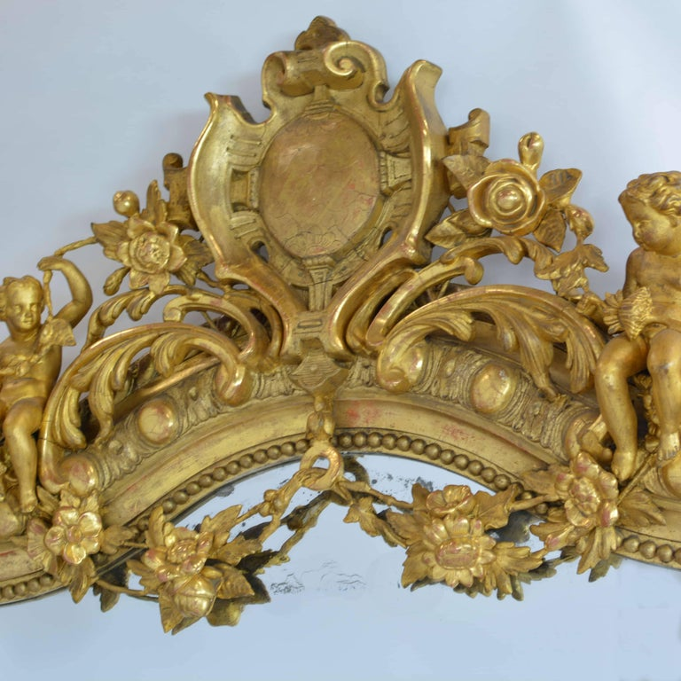 Large French 19th Century Ornate Giltwood Carved Mirror Louis XV Style Mirror For Sale 2