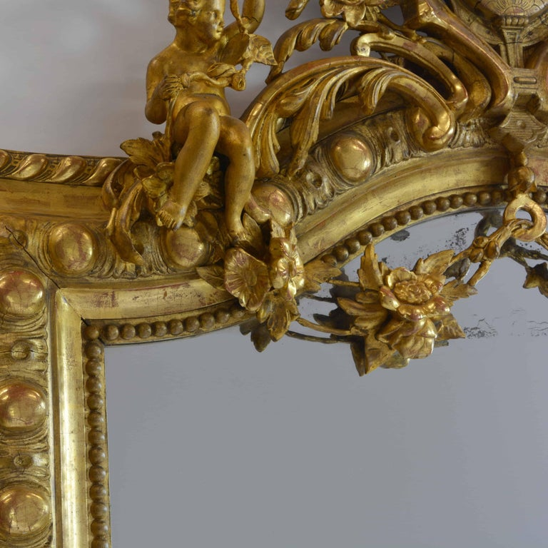 Large French 19th Century Ornate Giltwood Carved Mirror Louis XV Style Mirror For Sale 5