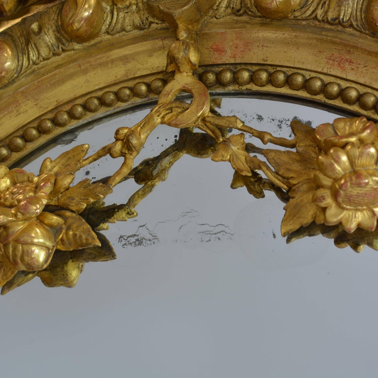 Large French 19th Century Ornate Giltwood Carved Mirror Louis XV Style Mirror For Sale 3