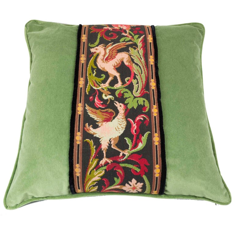 19th Century Tapestry Decorative Pillow Griffin Phoenix Green