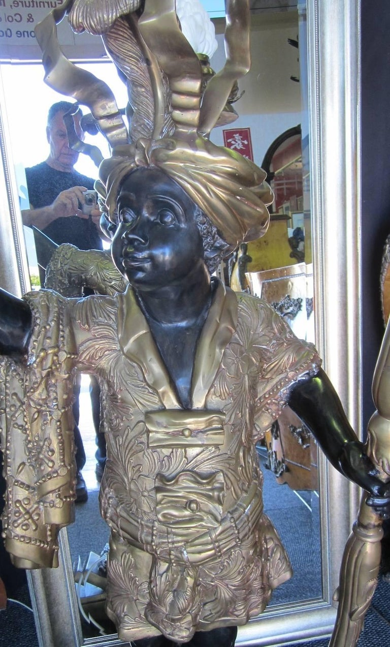 Bronze Blackamoor Or Nubian Statue With A Light For Sale