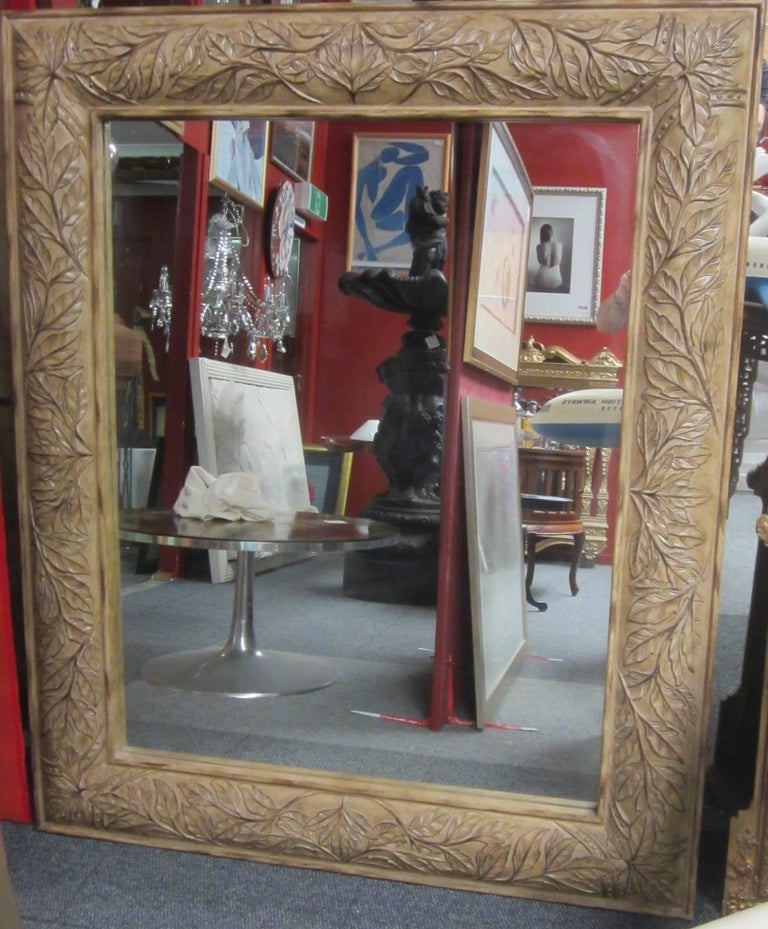 Large Wall Mirror of Floor Mirror with a Carved Wood Frame For Sale ...