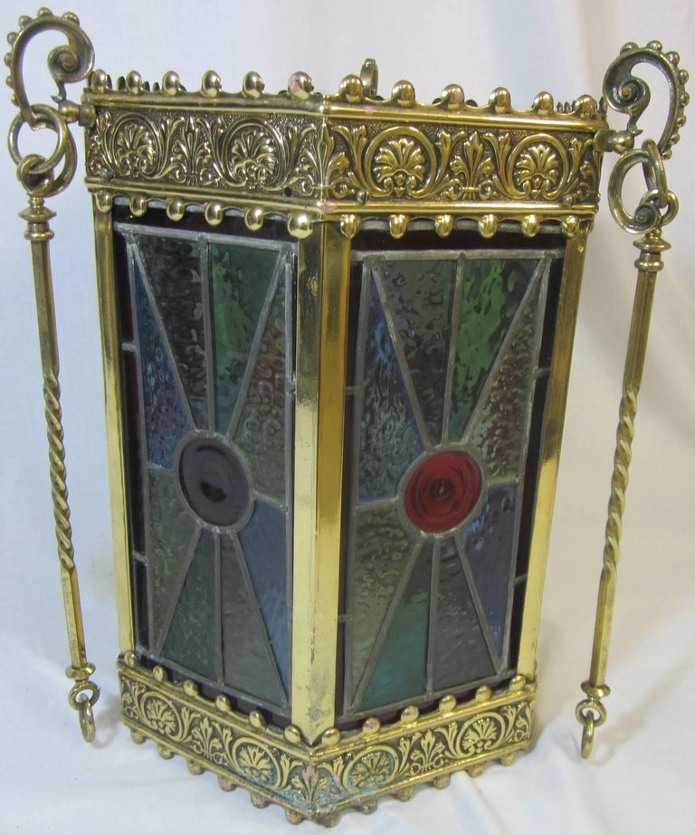 Arts & Crafts period brass and lead light hexagonal hanging lamp,