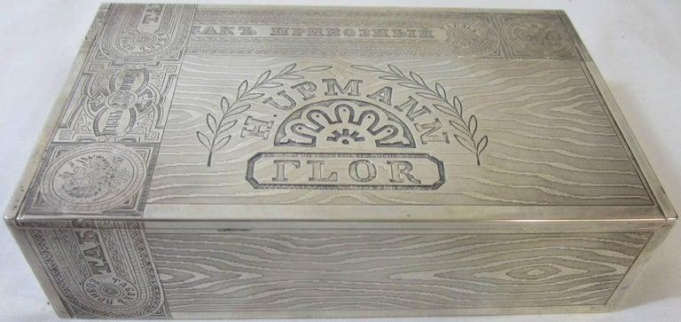 Art Nouveau Russian Silver Cigar Box For Sale