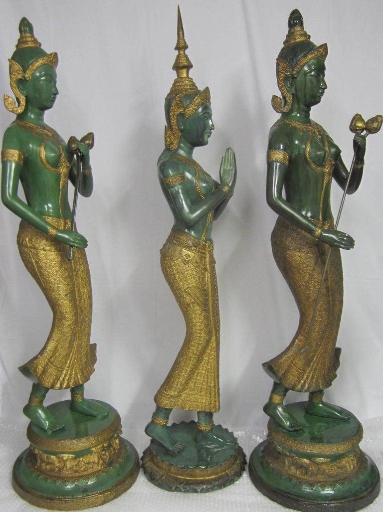 Cast Gilt Decorated Bronze Statues, Thailand For Sale