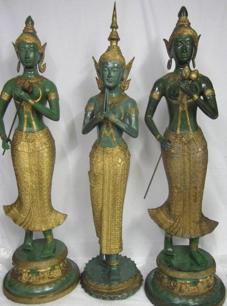 Folk Art Gilt Decorated Bronze Statues, Thailand For Sale