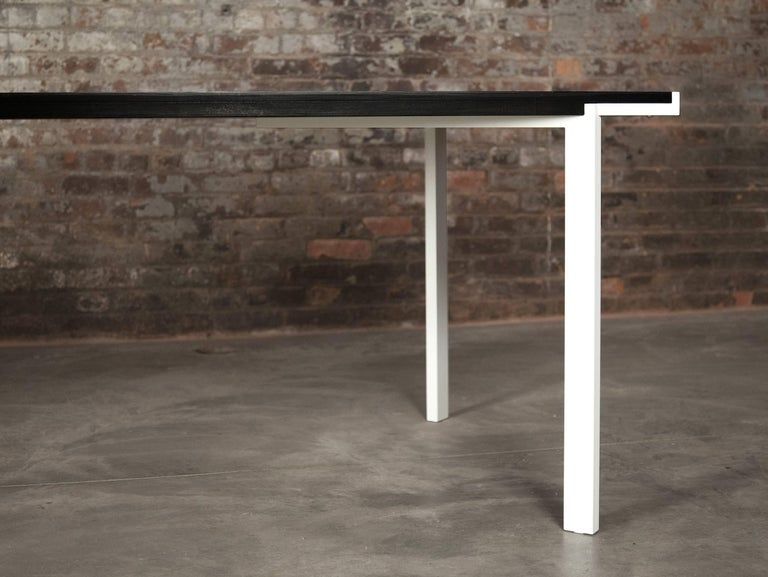 American Trace Table in Contemporary White Powder-Coated Steel and Ebonized Maple For Sale