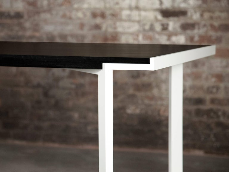 Modern Trace Table in Contemporary White Powder-Coated Steel and Ebonized Maple For Sale