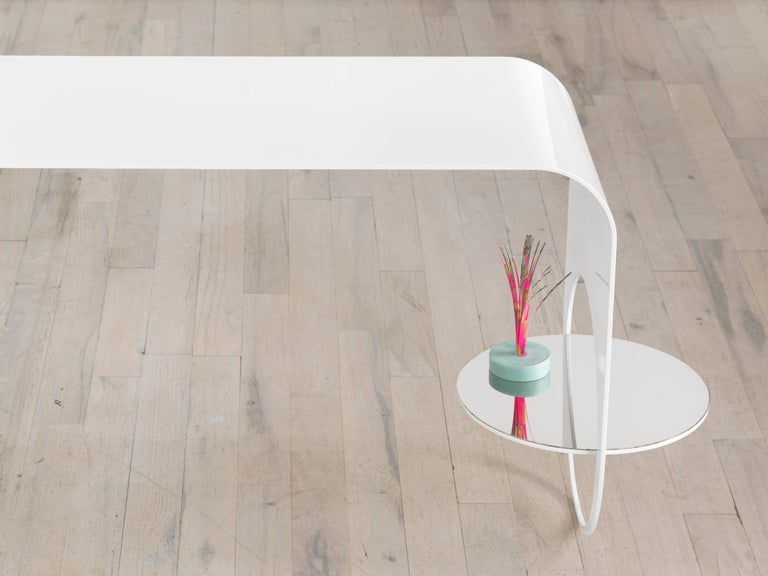 Modern Thin Table 2 in Contemporary White Powder Coated Steel and Polished Steel Shelf For Sale