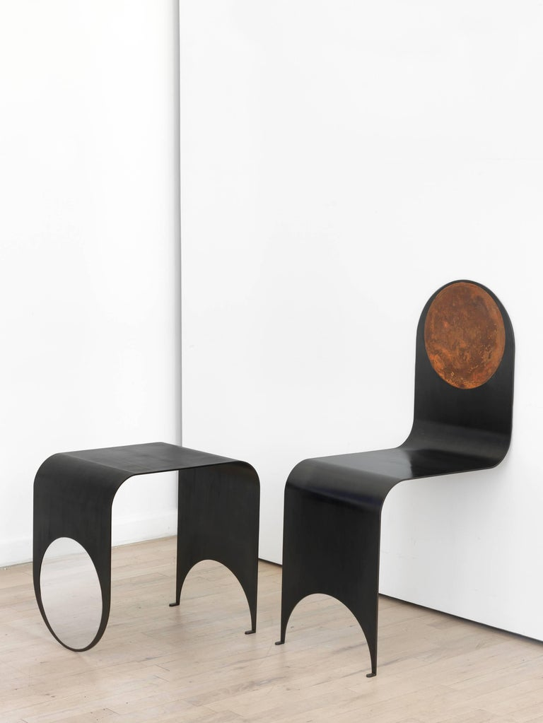 Modern Thin Table 1 in Contemporary Blackened Steel and Polished Steel, Made to Order For Sale