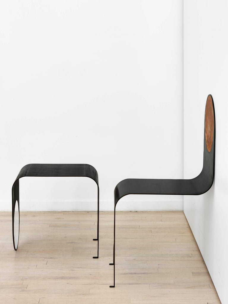 American Thin Table 1 in Contemporary Blackened Steel and Polished Steel, Made to Order For Sale