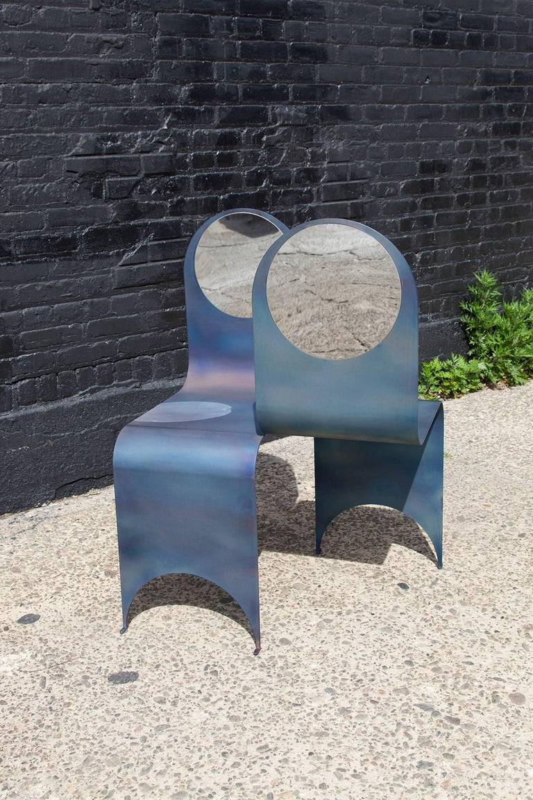 Modern Thin Tête-à-Tête in Contemporary Heat-Treated Steel and Polished Steel Inset For Sale