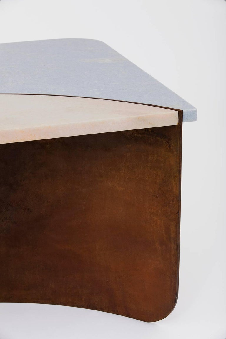 American Crescent Table in Contemporary Oxidized Steel with Blue and Pink Marble Insets For Sale