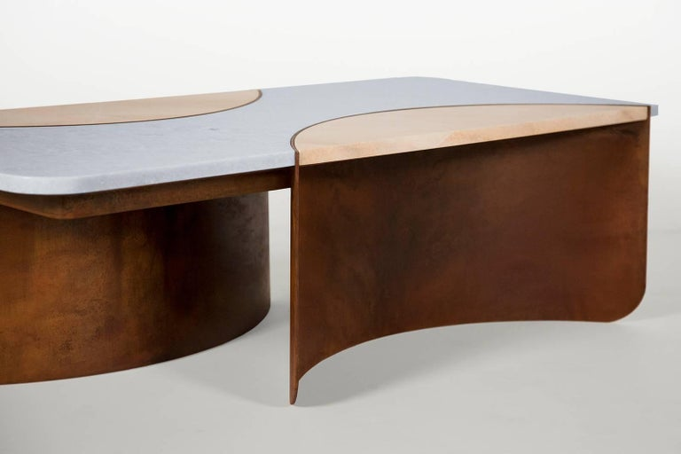 Modern Crescent Table in Contemporary Oxidized Steel with Blue and Pink Marble Insets For Sale
