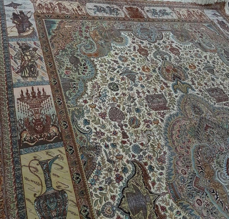 Ancient Symbols-Nami Designer, Hand-Knotted Persian Tabriz Rug In Excellent Condition For Sale In Cremorne, AU