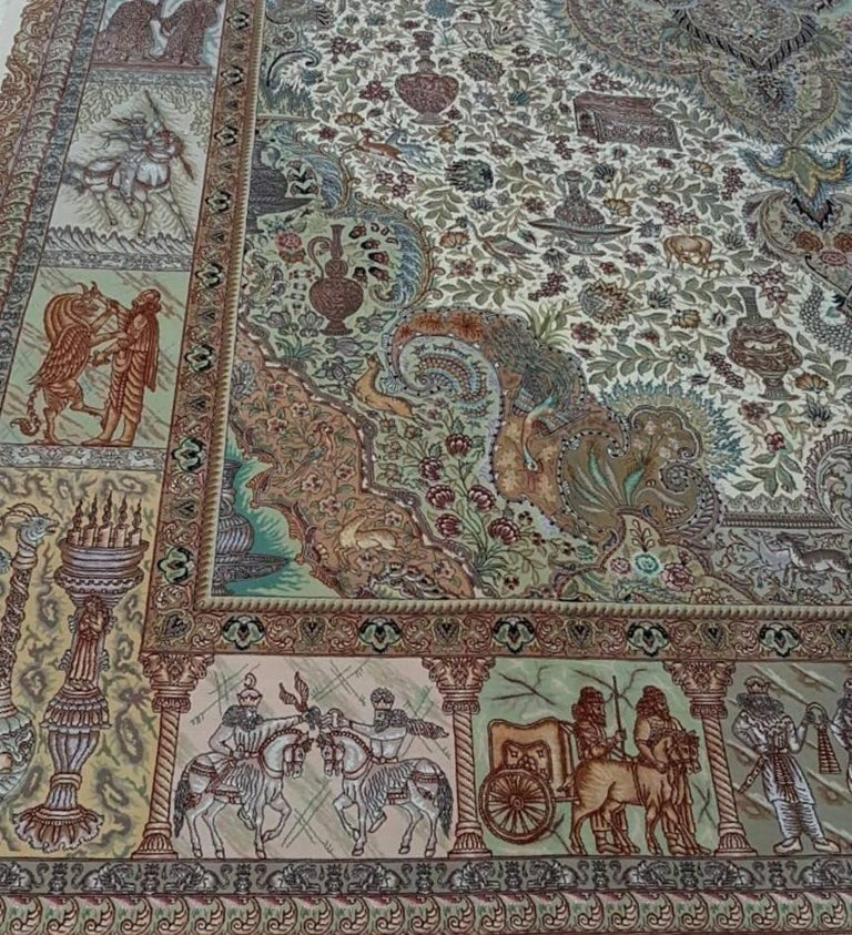 Contemporary Ancient Symbols-Nami Designer, Hand-Knotted Persian Tabriz Rug For Sale