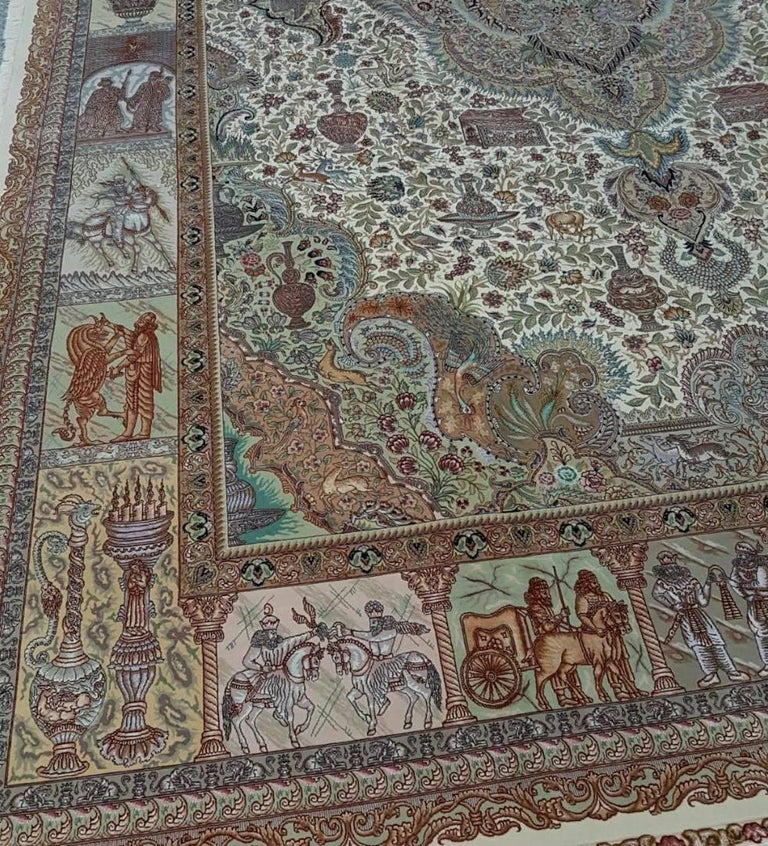 Wool Ancient Symbols-Nami Designer, Hand-Knotted Persian Tabriz Rug For Sale