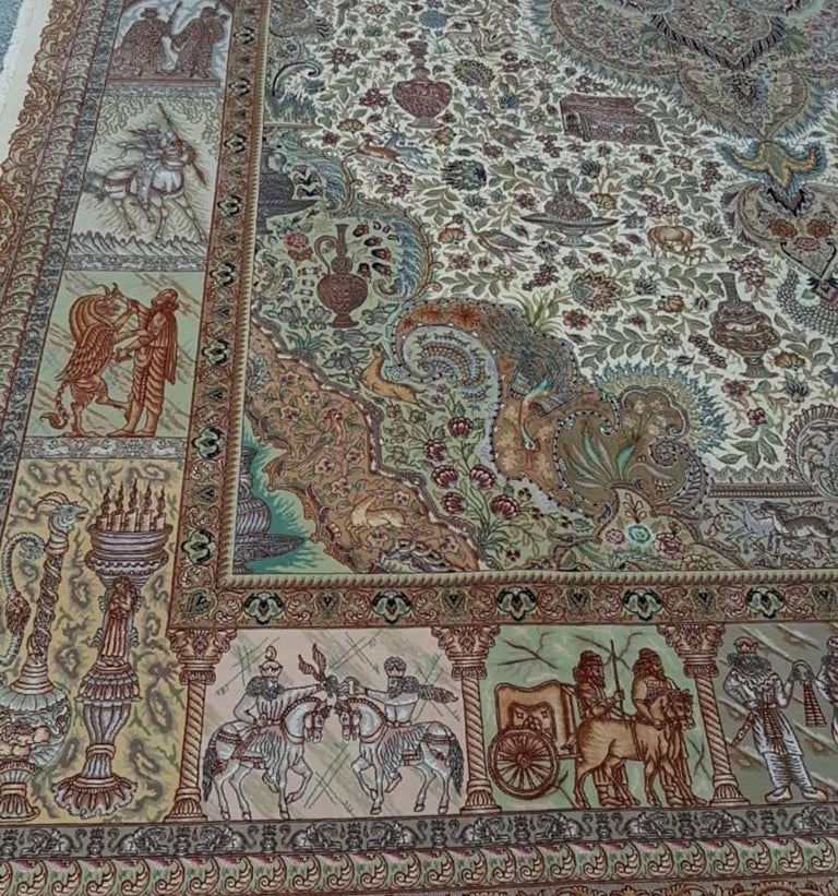 Ancient Symbols-Nami Designer, Hand-Knotted Persian Tabriz Rug For Sale 1