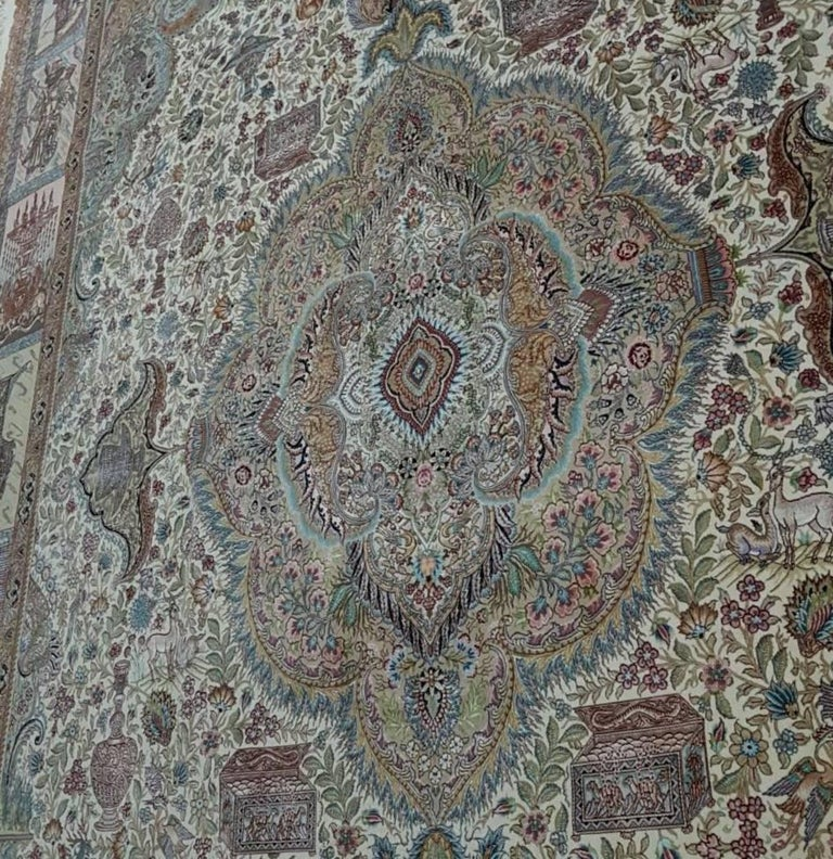 Ancient Symbols-Nami Designer, Hand-Knotted Persian Tabriz Rug For Sale 2