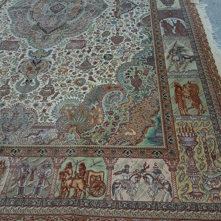 Ancient Symbols-Nami Designer, Hand-Knotted Persian Tabriz Rug For Sale 3