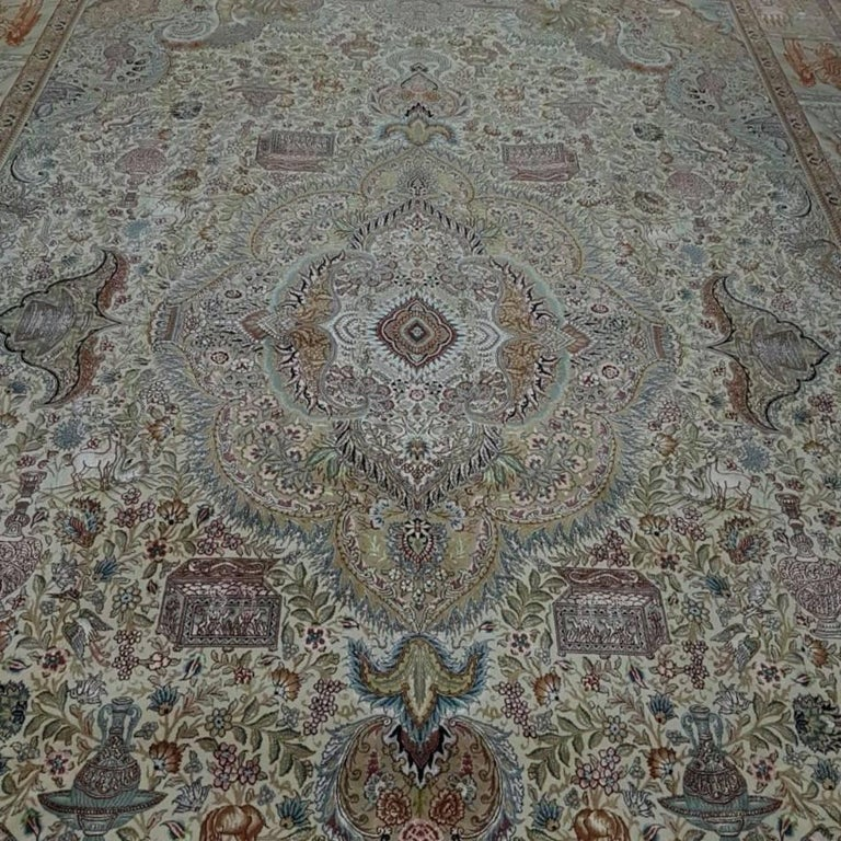 Ancient Symbols-Nami Designer, Hand-Knotted Persian Tabriz Rug For Sale 4