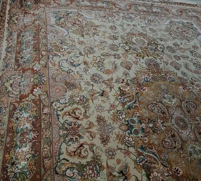 Novinfar Pink-Designer Master Novinfar, Genuine Persian Tabriz Silk and Wool Rug 2