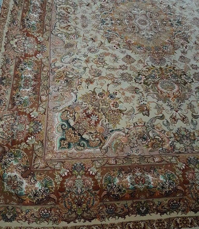 Novinfar Pink-Designer Master Novinfar, Genuine Persian Tabriz Silk and Wool Rug 3
