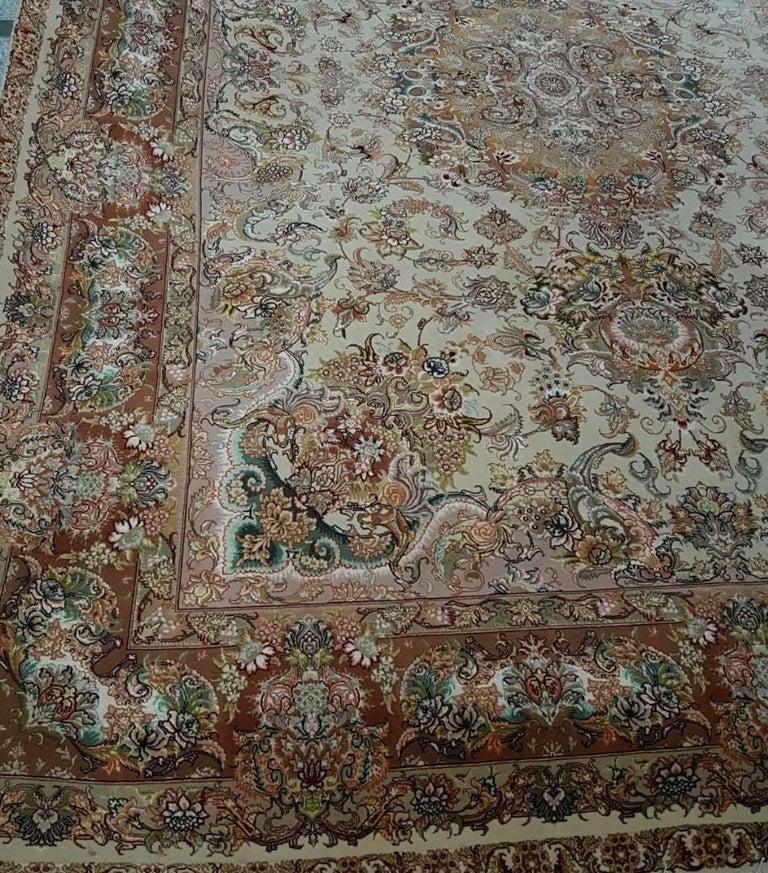 Novinfar Pink-Designer Master Novinfar, Genuine Persian Tabriz Silk and Wool Rug 4