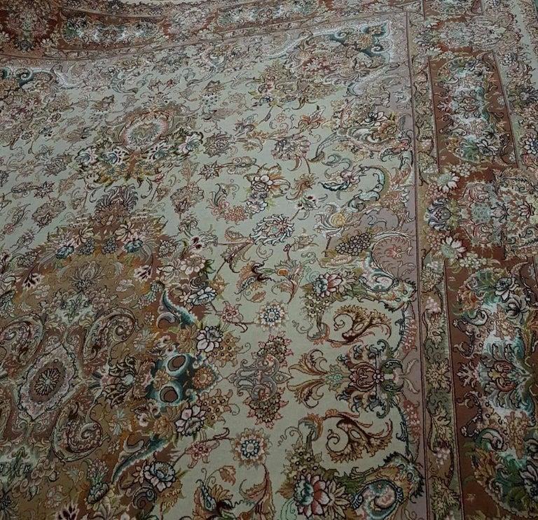 Novinfar Pink-Designer Master Novinfar, Genuine Persian Tabriz Silk and Wool Rug 5
