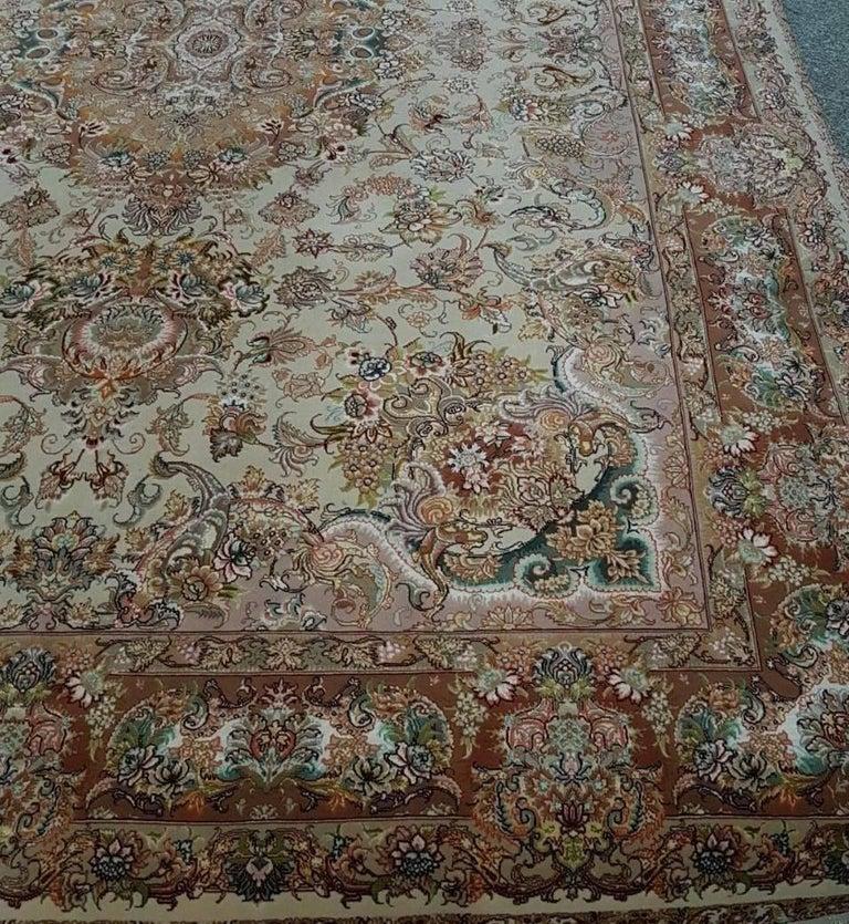 Novinfar Pink-Designer Master Novinfar, Genuine Persian Tabriz Silk and Wool Rug 6