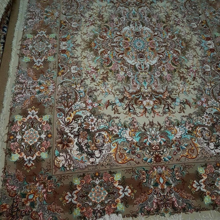 Fine Round Persian Bidjar Area Rug Hand Knotted Wool And: Khatibi Design Genuine Persian Tabriz Hand-Knotted Silk