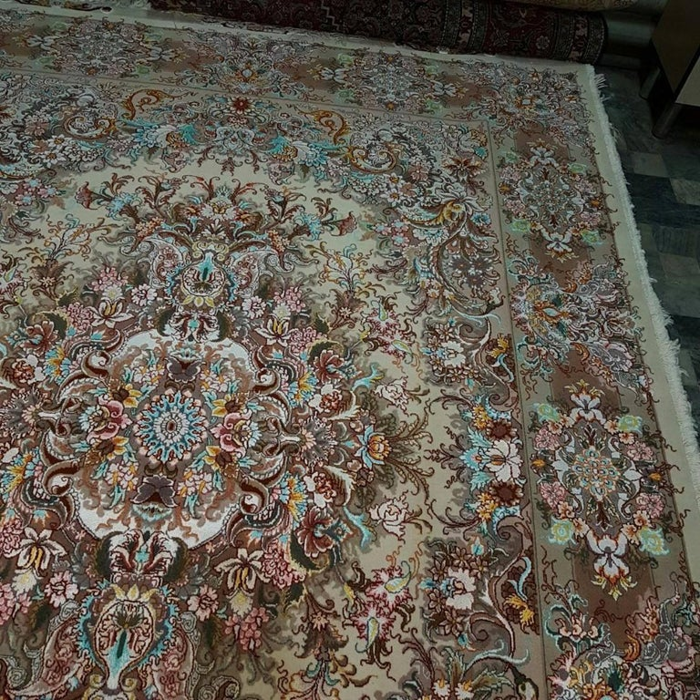 Contemporary Khatibi Design Genuine Persian Tabriz Hand-Knotted Silk and Merino Wool Rug For Sale