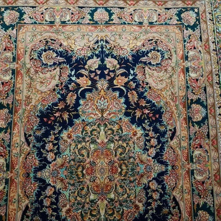 Novinfar Zar-o-nim, Master Novinfar Designed Hand Knotted Persian Tabriz Rug In Excellent Condition For Sale In Cremorne, AU